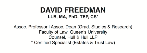David Freedman: Estates, Trusts & Guardianship Law